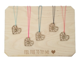 Necklace Wire Heart pink