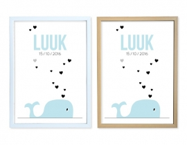 Birth poster Whale + frame