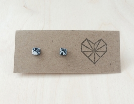 Earrings Marble look Square