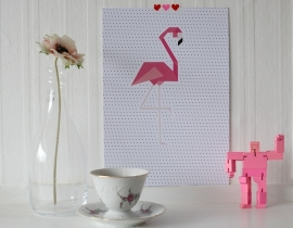 Poster Flamingo Dots