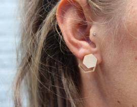 Dubbele oorbellen hexagon
