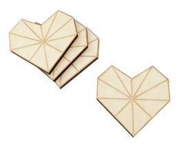 Coasters of wood heart shaped