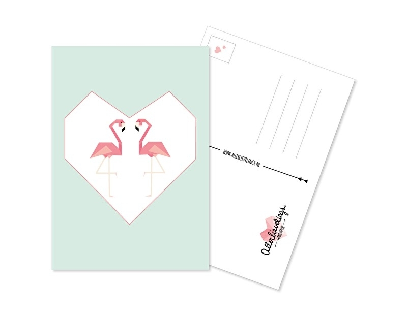Postkaart Flamingo Love