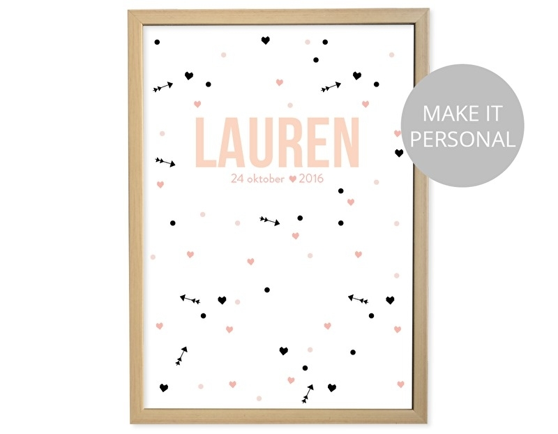Birth poster Coral + frame
