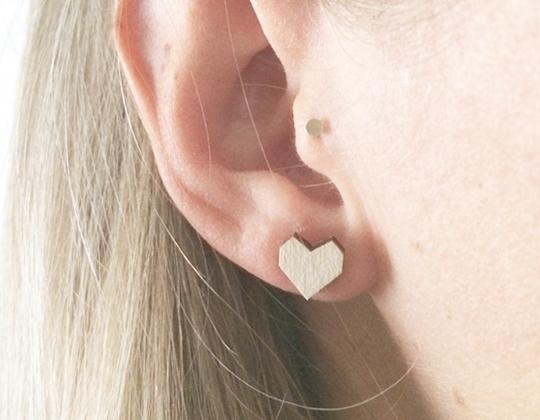 Oorbellen houten hartjes