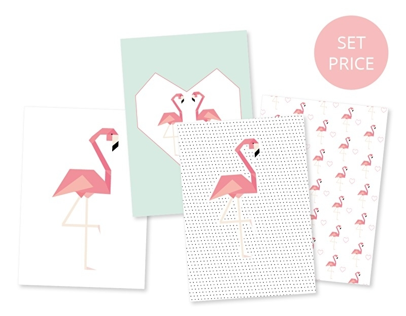 Postcard set Flamingo