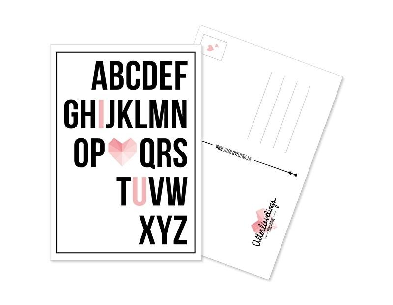 Postkaart ABC roze