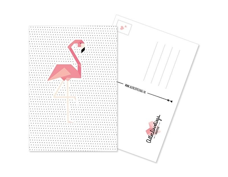 Postkaart Flamingo Dots
