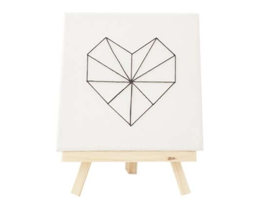 Hart op canvas met standaard