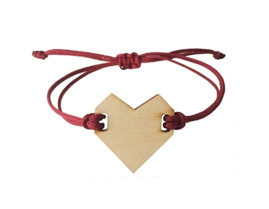 Armband hart Bordeaux