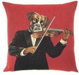 Gobelin Kissen Boxer mit Geige