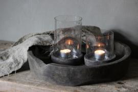 Setje Glazen Windlicht / Pot met deksel Small en Large
