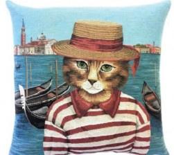 Gobelin Kissen Katze Maritim, 2-er set