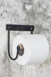 WC rol houder zwart met hout