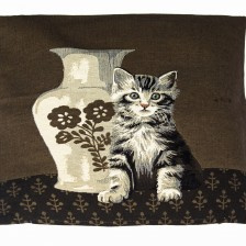 Gobelin Kissen Katze mit Vase