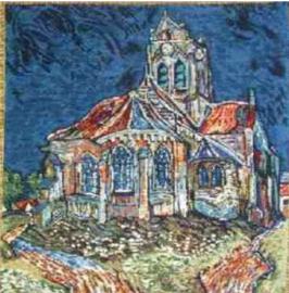 Gobelin Kissen Van Gogh Kirche von Auvers 45x45cm