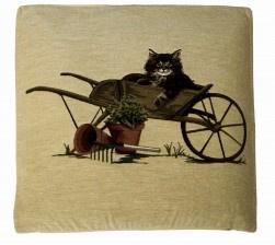 Gobelin Kissen Katze in Schubkarre