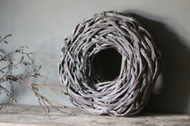 Krans Flat Rattan Frosted White 48 cm