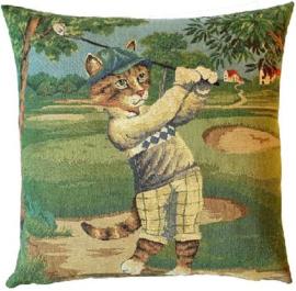 Gobelin Kissen Golf Katze