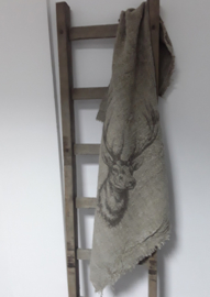 Shabby Leinen Decke Hirsch 100x98cm
