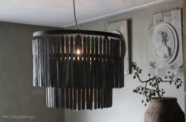 Hängeleuchte Ø60x43 cm Holz matt schwarz