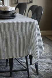 Tafelkleed Wit met Zwart streepje 150x250 cm