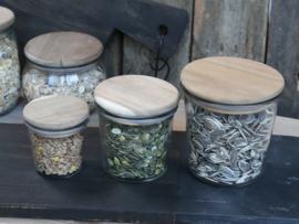 Voorraadpotje met houten deksel Large