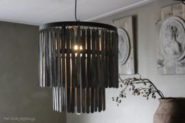 Hängeleuchte Ø45x43 cm Holz matt schwarz