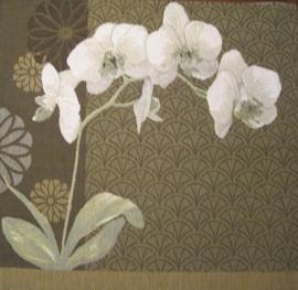 Gobelin kussen Orchidee Olijfgroen 50x50cm