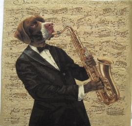 Gobelin Kissen Dog mit Saxophon