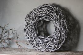 Krans Crazyvine Wreath Open Frosted White 65 cm