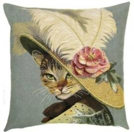Gobelin Kissen Katze mit Hut 45x45cm