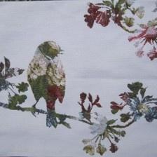 Gobelin kussen Vogel met bloemen 40x50cm