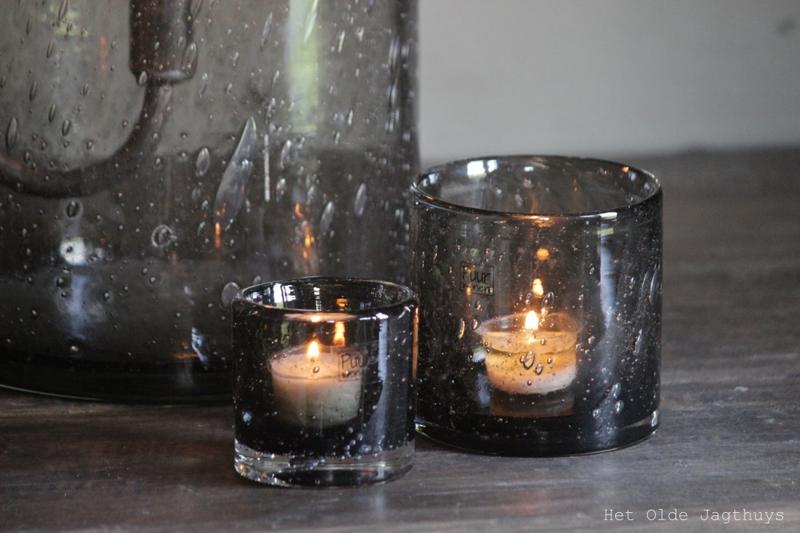 Windlicht Smokey Grey Bubbles 10/10 cm -Puur Wonen-