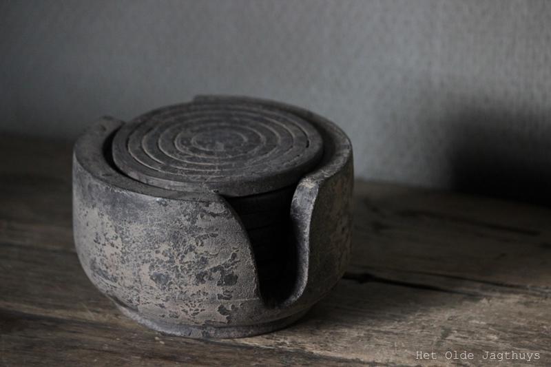 Hedendaags Onderzetters in houder ''Vintage Grey''   Unieke Items   Het Olde CY-93