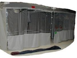 Achterwand of zijwand parasol, met raam 2,00 x 2,00 m.