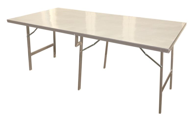Koffertafel met Alu. Blad. 1,20 x 2,00 x 0,80h.