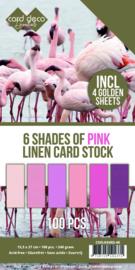 6 Shades of Pink Linen Card Stock - 100vel Vierkant