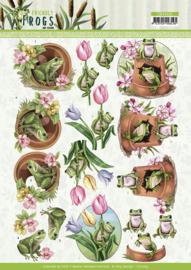 3D knipvel - Amy Design - Friendly Frogs - Flower Frogs
