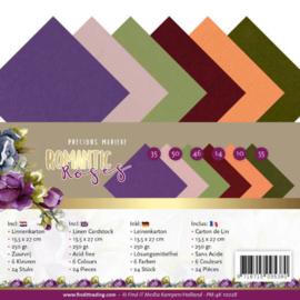 Linnen Cardstock Pack - 4K - Precious Marieke - Romantic Roses