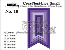 Small stansen no. 18. 6x Vaandels, glad