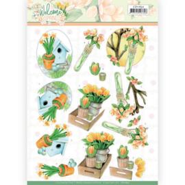 3D knipvel - Jeanine's Art Welcome Spring - Orange Tulips