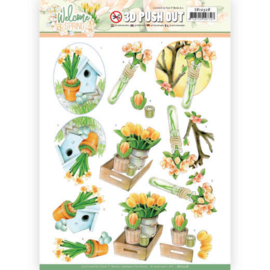 3D Push Out - Jeanine's Art Welcome Spring - Orange Tulips