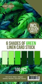 6 Shades of Green Linen Card Stock - 100vel Vierkant