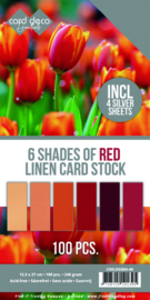 6 Shades of Red Linen Card Stock - 100vel Vierkant