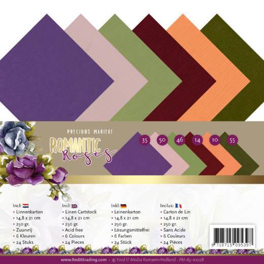 Linnen Cardstock Pack - A5 - Precious Marieke - Romantic Roses