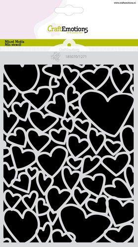 CraftEmotions Mask stencil Love Puns - harten A5 Carla Creaties