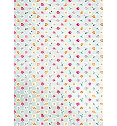 Achtergrond papier A4 - Flowers & butterflies