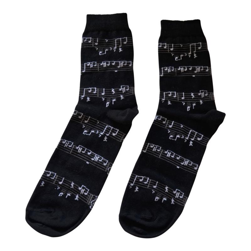 Sokken Muzieknoten wit