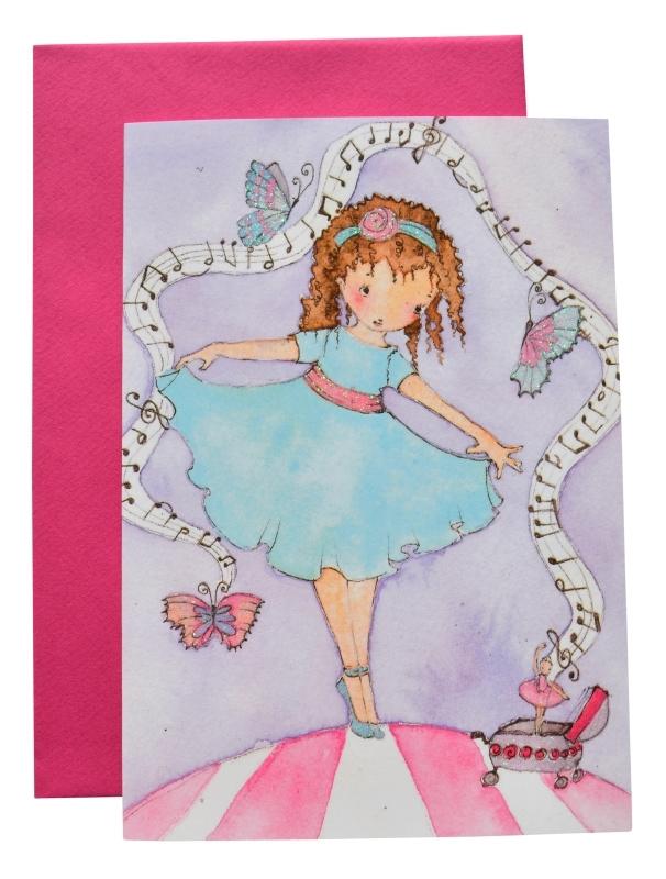 Dubbele kaart met envelop Ballerina